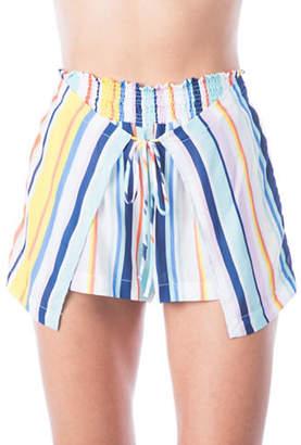 Nanette Lepore High-Waist Striped Wrap Shorts