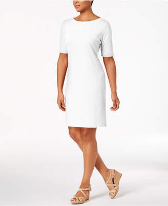 9476db9907 Karen Scott Petite Cotton Elbow-Sleeve Dress
