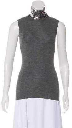 Christian Dior Wool Embellished Sleeveless Top