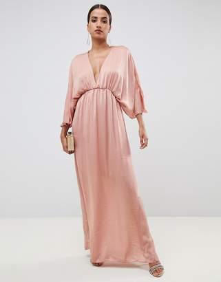 Asos Design DESIGN kimono maxi dress in satin