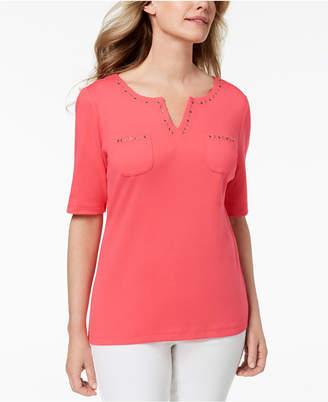 Karen Scott Cotton Spit-Neck Studded Top, Created for Macy's