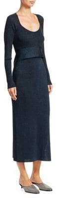 3.1 Phillip Lim Tie-Waist Lurex Rib-Knit Midi Dress