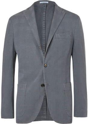 Boglioli Slate-Blue Unstructured Prince of Wales Checked Stretch-Cotton Blazer