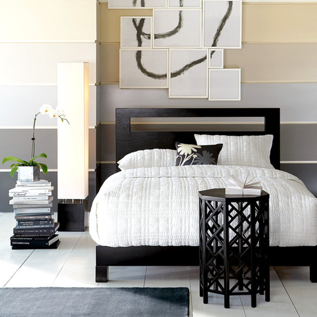 Low Wood Cutout Headboard + Wood Bed Frame