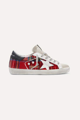 Golden Goose Superstar Tartan Flannel And Distressed Leather Sneakers - Red
