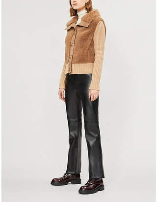Yves Salomon Contrast-panel shearling and wool-blend jacket