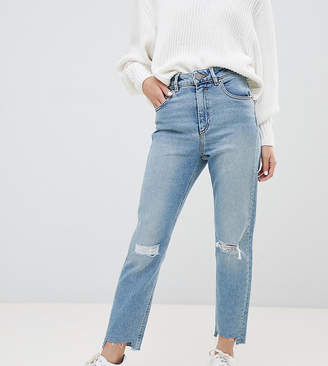 Asos DESIGN Petite Farleigh high waisted slim mom jeans in light vintage wash with busted knee and rip & repair detail