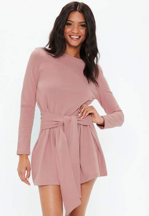 Pink Tie Waist Mini Sweater Dress, Pink