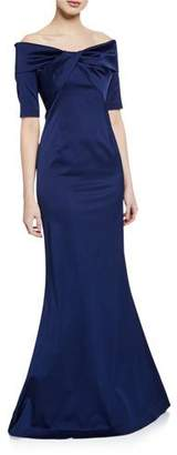 Rickie Freeman For Teri Jon Off-the-Shoulder Elbow-Sleeve Stretch Satin Mermaid Gown w/ Twist Detail