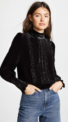 Frame Ruffle Velvet Long Sleeve Top