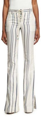 Roberto Cavalli Striped Tie-Front Bell-Bottom Jeans, White/Blue $905 thestylecure.com