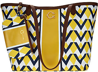 C. WonderAs Is C. Wonder Graphic Geo Stripe Print Large Tote Handbag