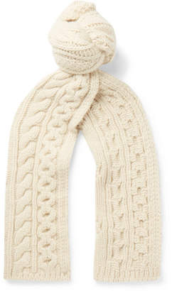 Brioni Cable-Knit Camel Hair Scarf - Cream