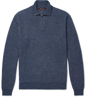 Loro Piana Mélange Cashmere And Silk-Blend Half-Zip Sweater