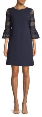 Donna Ricco Scuba Lace Flute Sleeve Dress