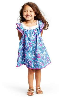 Lilly Pulitzer for Target Toddler Girls' My Fans Short Sleeve Square Neck Ruffle Dress for Target Blue/Pink