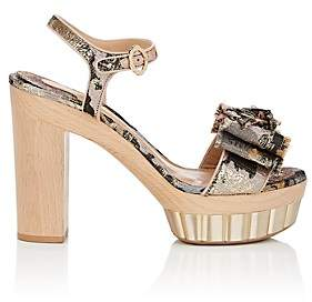 Salvatore Ferragamo Women's Bow-Embellished Jacquard Platform Sandals - Nudeflesh