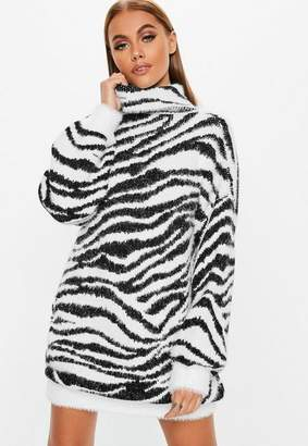 Missguided Premium White Fluffy Roll Neck Animal Jumper Dress, White
