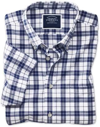 Charles Tyrwhitt Slim Fit Poplin Short Sleeve Navy and White Cotton Casual Shirt Single Cuff Size Medium