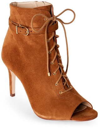 jones new york Peanut Grace Peep Toe Lace-Up Booties $149 thestylecure.com