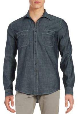 Dockers Premium Edition Chambray Fitted Cotton Casual Button-Down Shirt