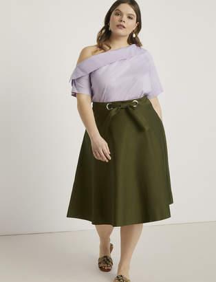 Grommet Detail Circle Midi Skirt