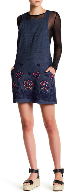 Anna Sui Anna Sui Pansy Applique Denim Overall Dress