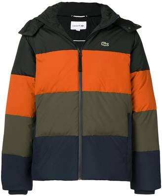 90865487bbf509 Lacoste colour block striped puffer jacket