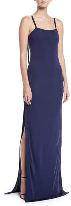 Yigal Azrouel Matte-Jersey Slit-Leg Evening Gown
