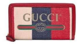 Gucci Striped Logo Zip-Around Wallet