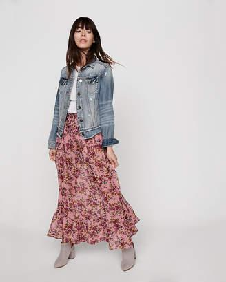 Express Tie Front Flutter Hem Maxi Skirt