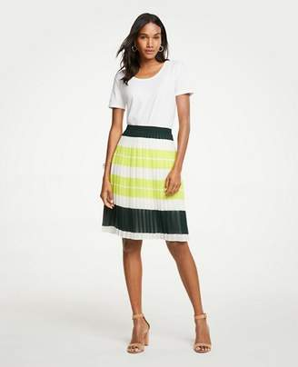 Ann Taylor Bold Stripe Pleated Skirt