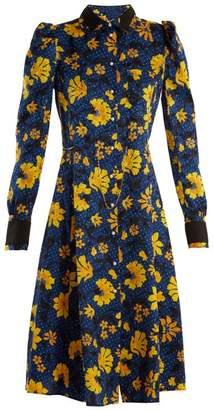 Altuzarra Filippa Floral Print Silk Jacquard Shirtdress - Womens - Navy Print