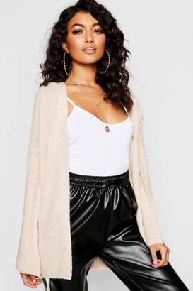 boohoo Fisherman Knit Flare Sleeve Cardigan