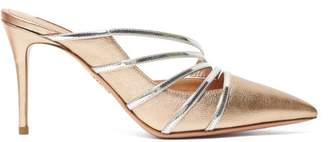 Aquazzura Minou 85 Metallic Leather Mules - Womens - Gold