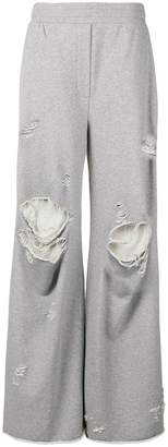 Alexander Wang distressed wide leg track pants