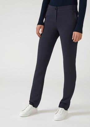 Emporio Armani Trousers In Stretch Tricotine