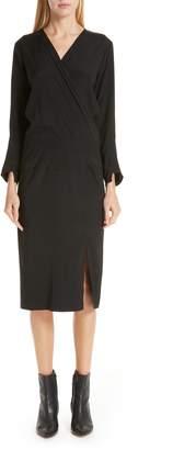 Zero Maria Cornejo Stretch Silk Faux Wrap Dress