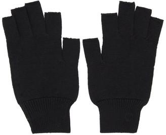 Rick Owens Black Merinois Fingerless Gloves