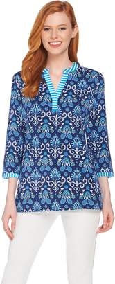 C. Wonder Floral Tile Print 3/4 Sleeve Knit Tunic