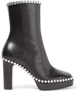 Gucci Olympia Crystal-embellished Leather Platform Ankle Boots - Black