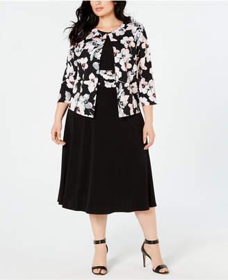 353f72d923 Jessica Howard Plus Size Floral-Print Jacket & Dress