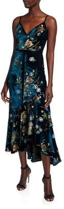 Marchesa Embroidered High-Low Sleeveless Velvet Cocktail Dress w/ Cascading Hem