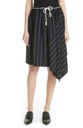 Vince Skinny Stripe Asymmetrical Cotton Skirt