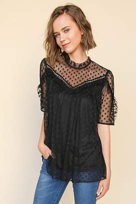 Umgee USA Black Polka-Dot-Lace Top