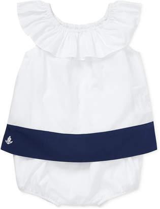 Polo Ralph Lauren Baby Girls Colorblocked Ruffled Top & Shorts Set