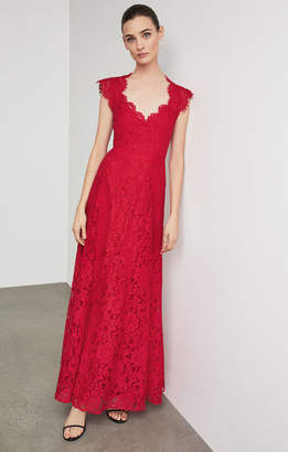 BCBGMAXAZRIA Scalloped Lace Gown