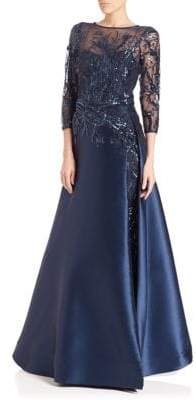Teri Jon Bead Top Satin Gown