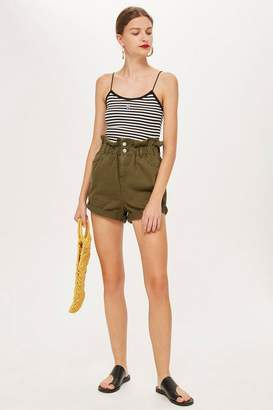 Topshop Khaki Denim Paper Bag Shorts