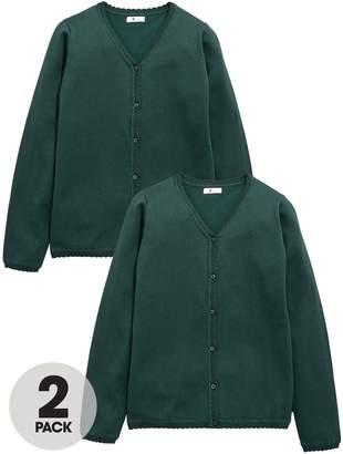 Very Schoolwear Girls School Cardigans - Green (2 Pack)